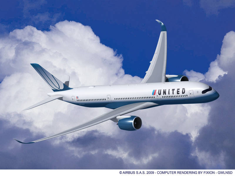 Aeroplans - U.S.-based global carrier United has formalised its acquisition of 25 A350-900 XWB aircraft, the newest Airbus twin-engine widebody (10 March 2010) © Airbus S.A.S. 2009 - Computer Rendering by FIXION - GWLNSD