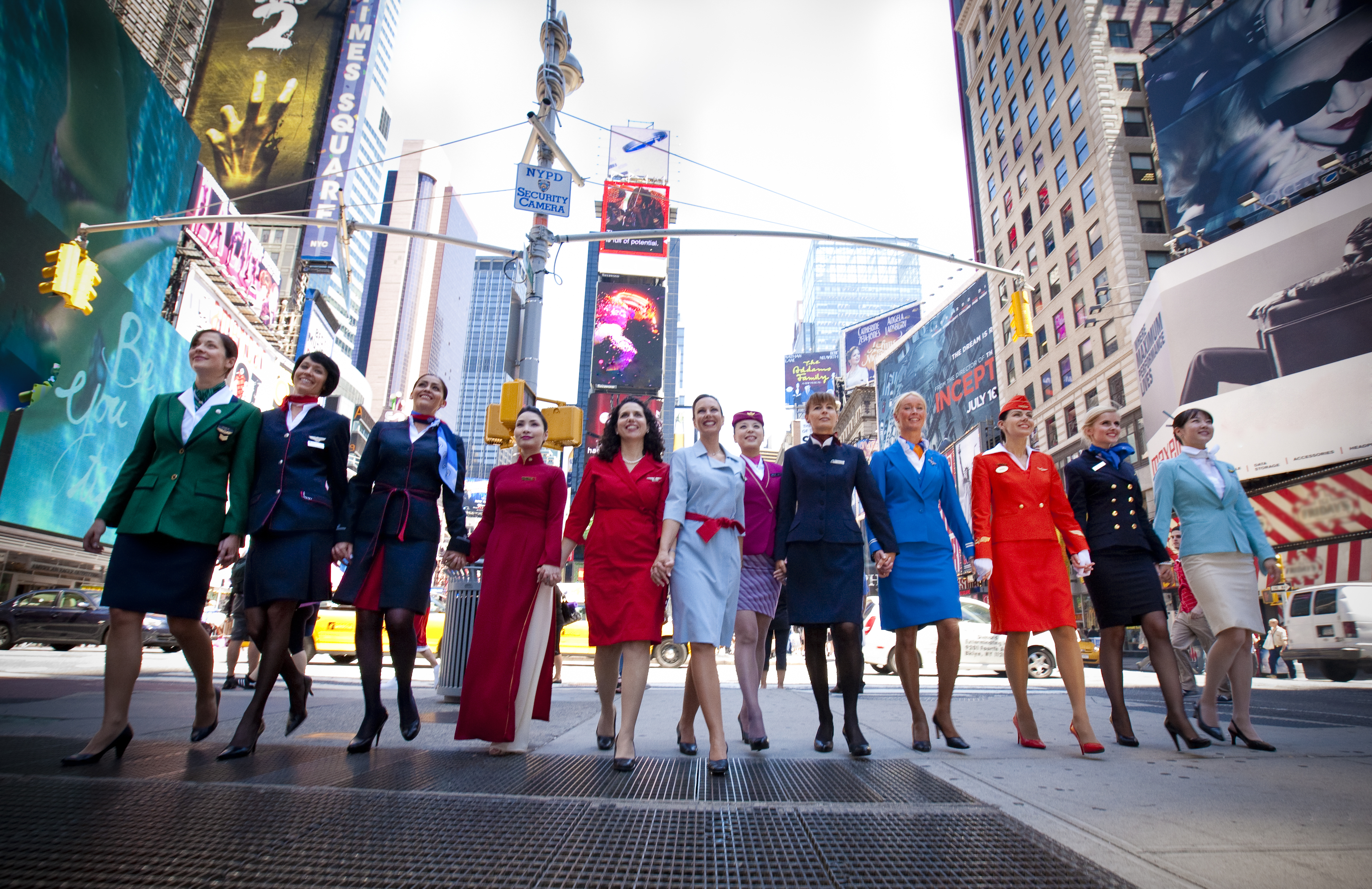 Aeroplans - Flight attendants gathered in New York to celebrate the 10th anniversary of the alliance © Skyteam