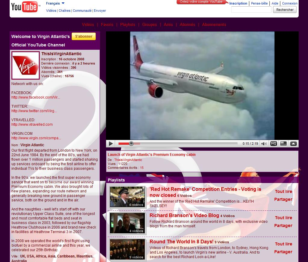 Aeroplans - Page YouTube de Virgin Atlantic