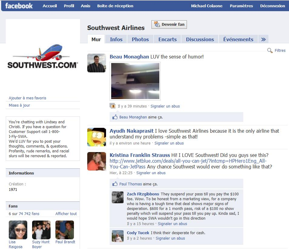 Aeroplans - Facebook de Southwest Airlines