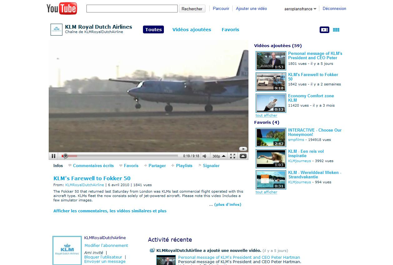 Aeroplans - Chaine You Tube KLM