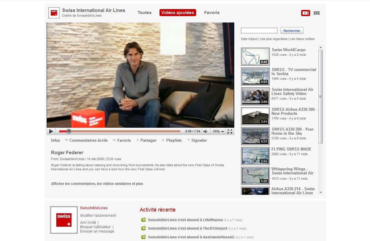 Aeroplans - Chaine You Tube SWISS